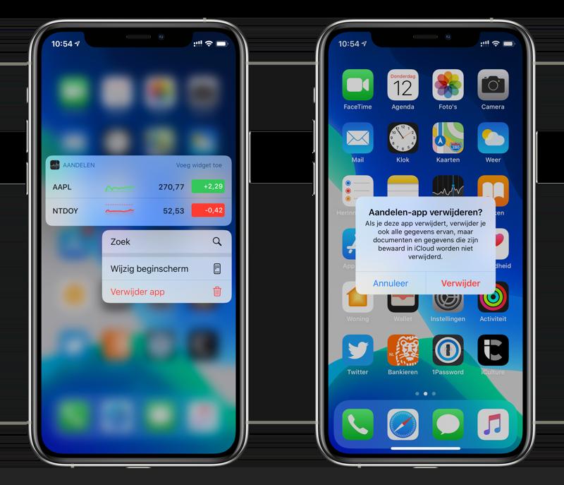 Standaardapp verwijderen: Aandelen in iOS 13.