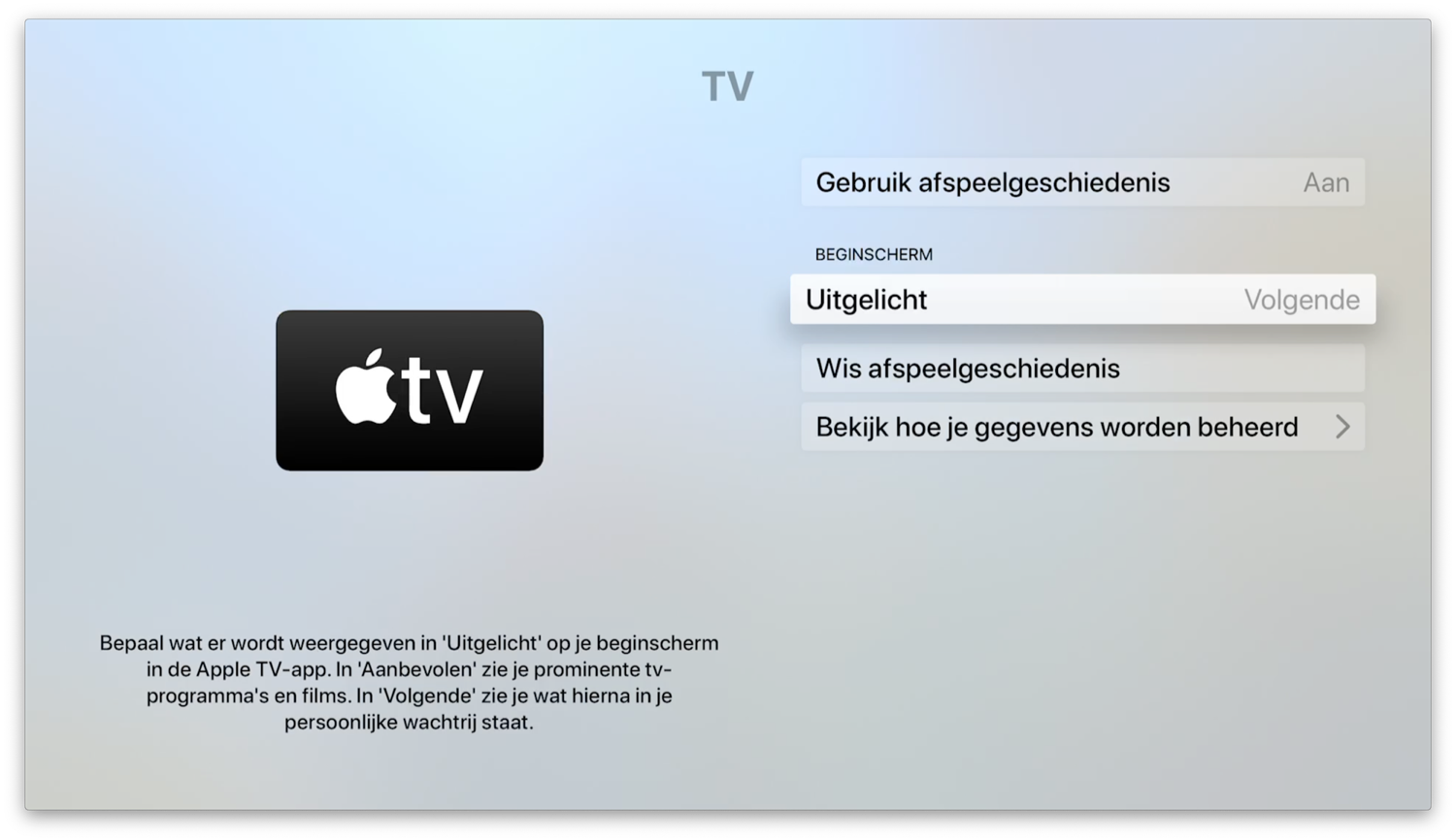 Apple TV-instelling voor Top Shelf bij TV-app.