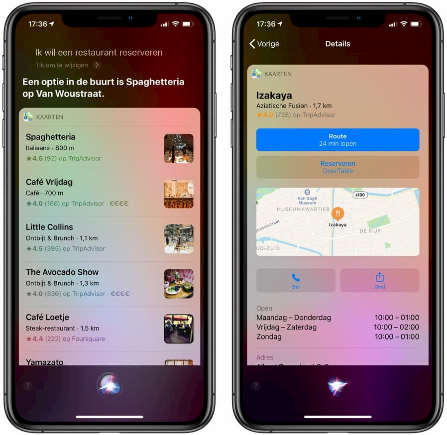 Tafel reserveren met Siri