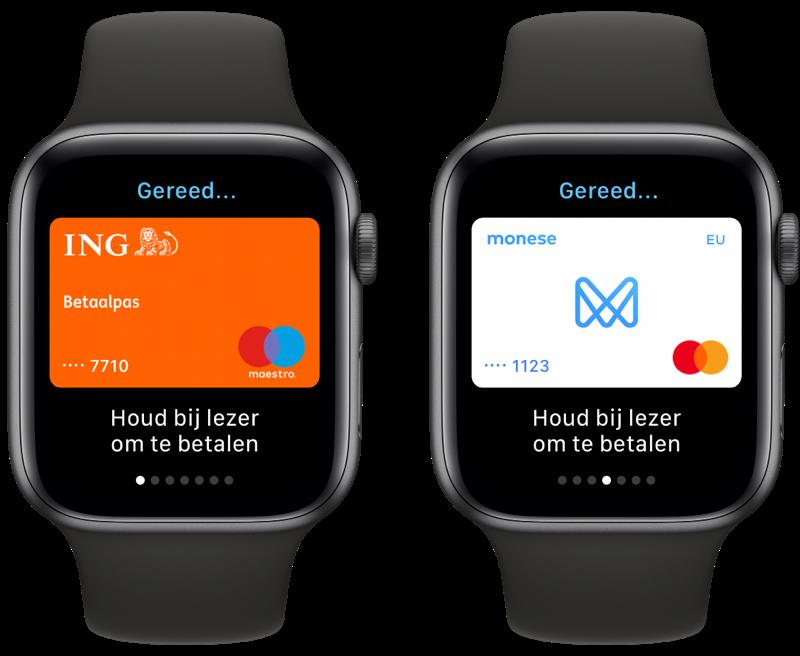 Apple Pay kaart wisselen op Apple Watch.