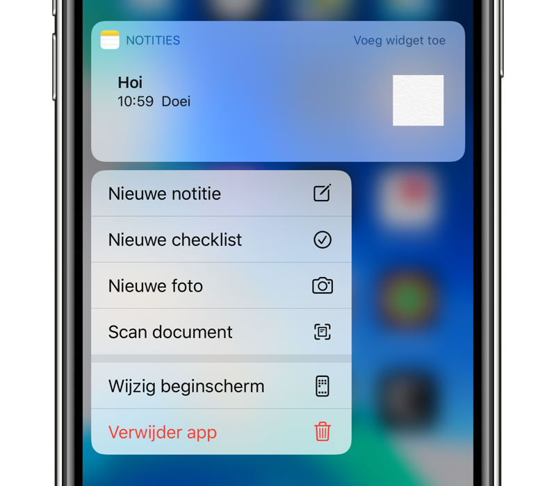 3D Touch en Haptic Touch op Notities app.