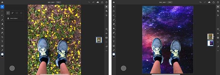Selecteer onderwerp in Photoshop voor iPad