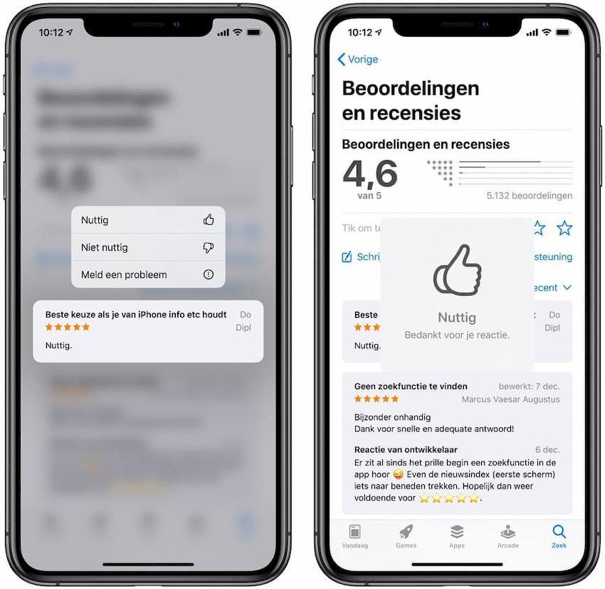 App Store recensies markeren