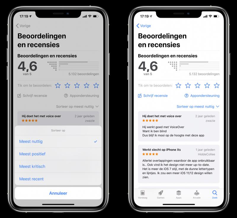 App Store recensies sorteren