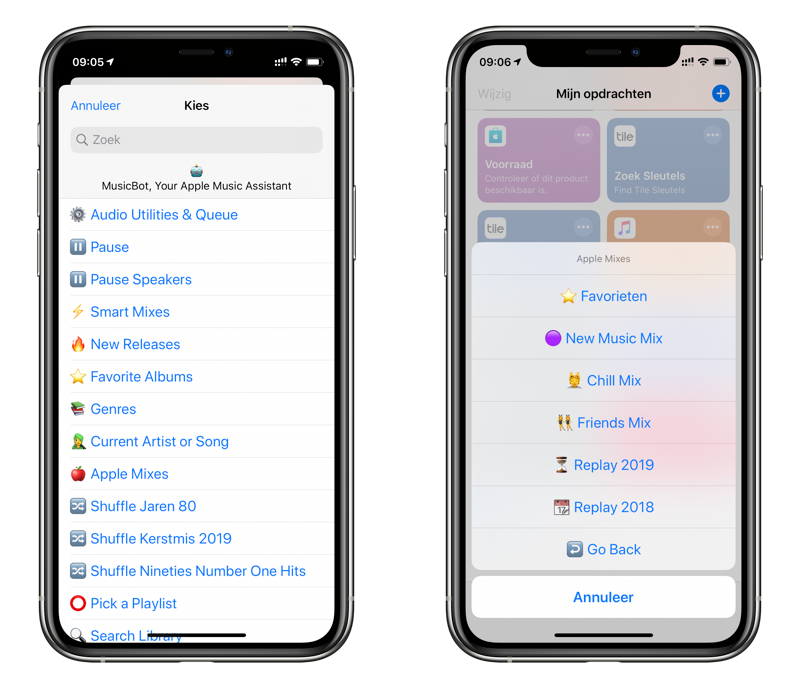 MusicBot-opdracht in Siri Shortcuts.