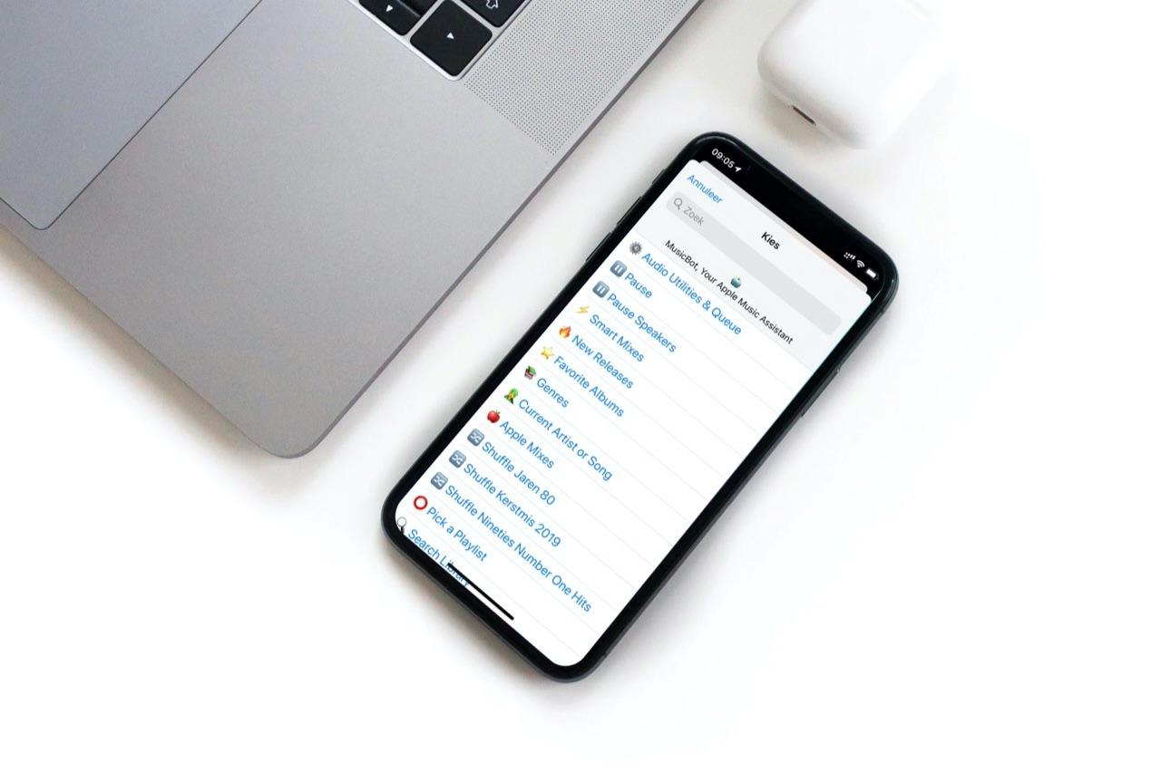 MusicBot Siri Shortcuts menu.
