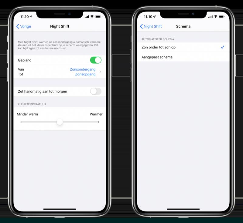 Night Shift instellen iOS