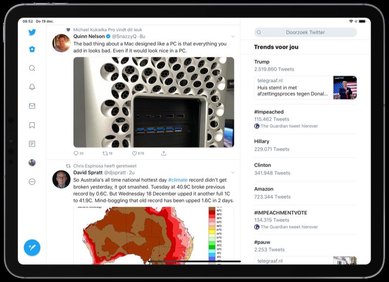 Twitter voor iPad design met kolommen.