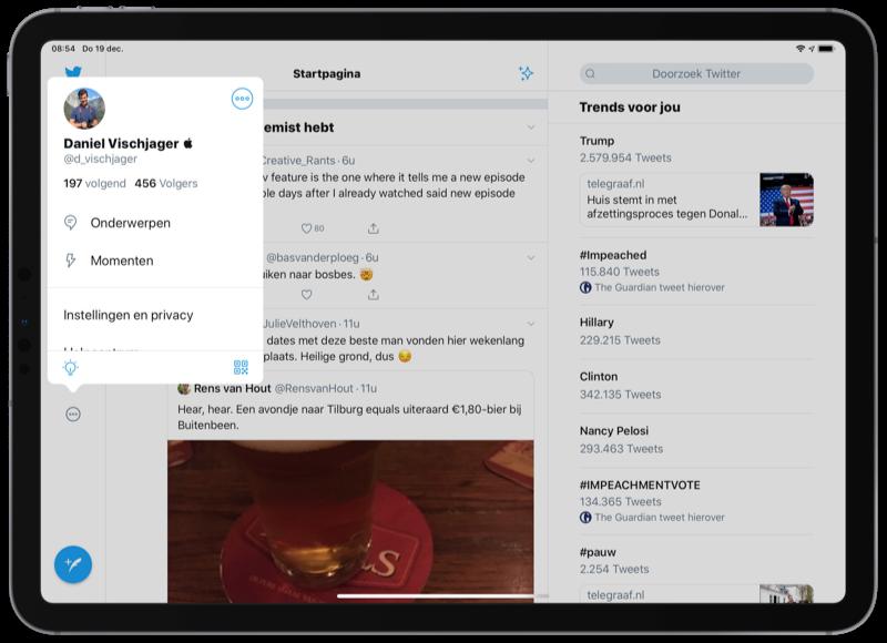 Twitter voor iPad design met profiel en instellingen.