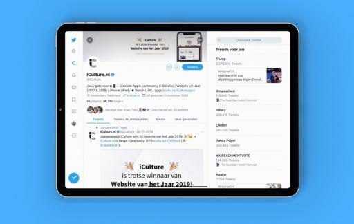 Design van Twitter op iPad.