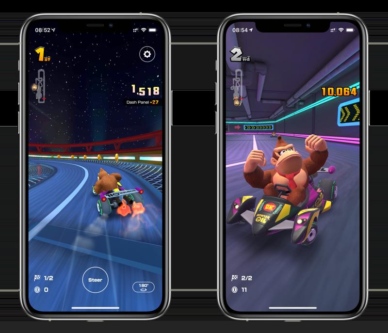 Mario Kart Tour multiplayer met Donkey Kong.