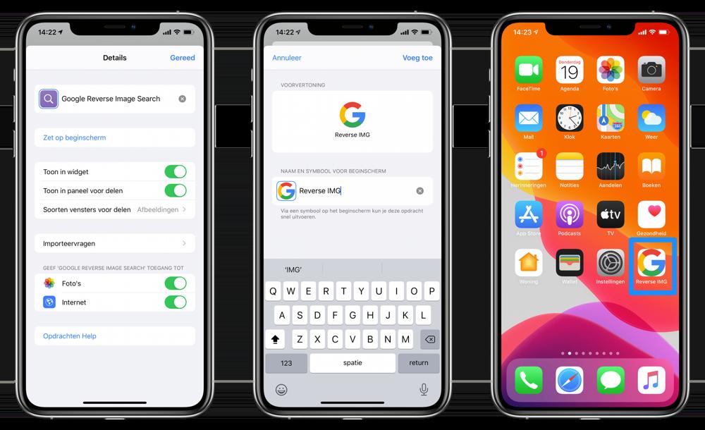 Eigen icoon instellen Opdrachten-app
