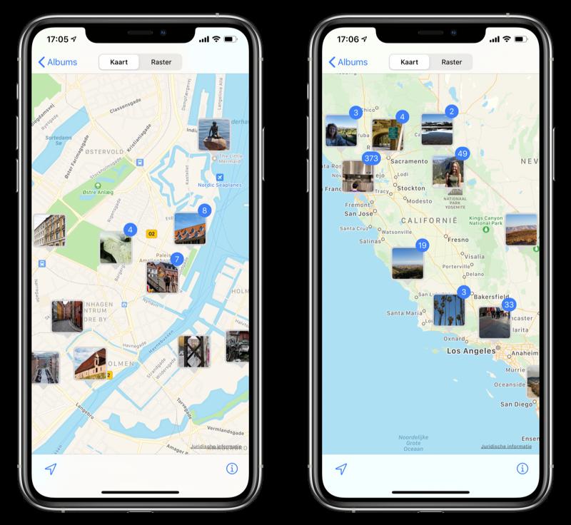 Foto's app kaart en locaties