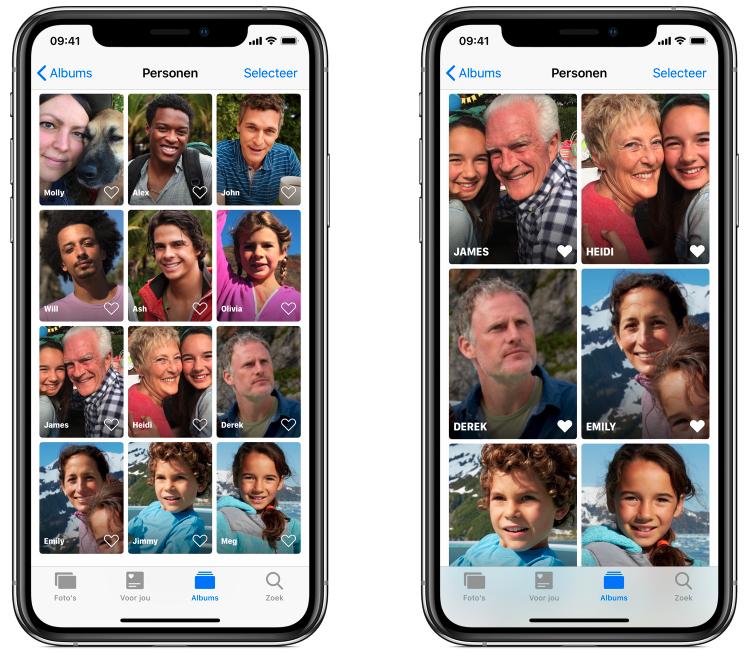 Personen gezichtsherkenning Foto's app iOS 13