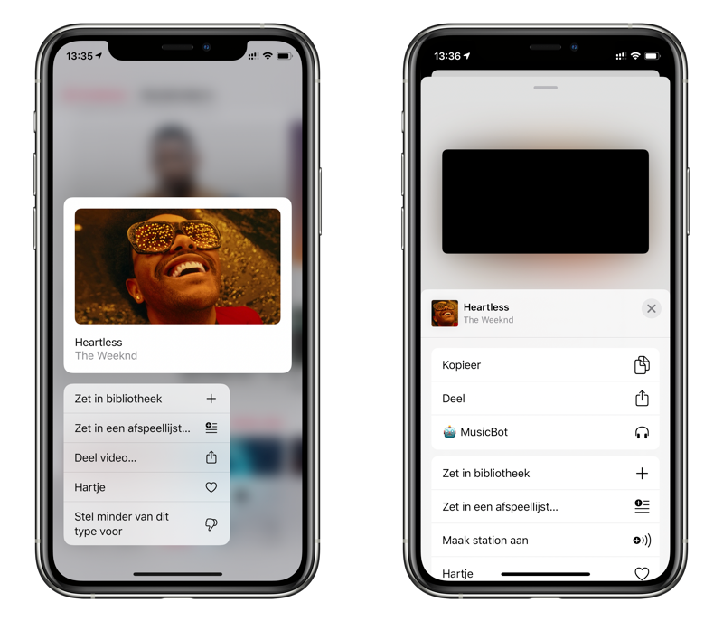 Videoclip in Apple Music toevoegen aan bibliotheek.