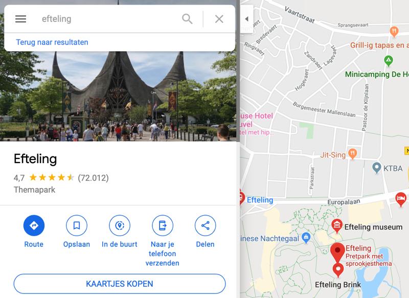 Locatie Google Maps doorsturen