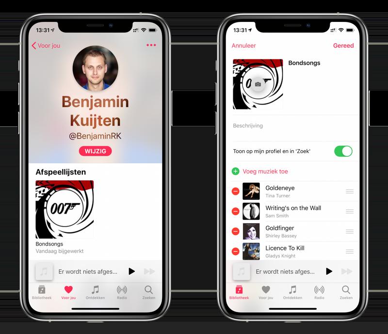 Apple Music afspeellijst delen op je profiel.