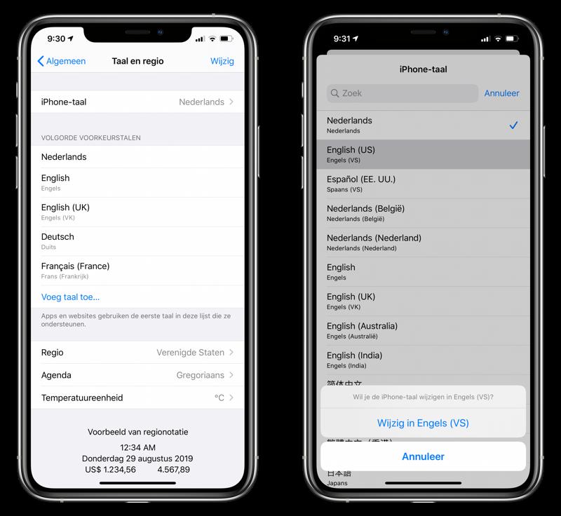 iPhone taal en regio