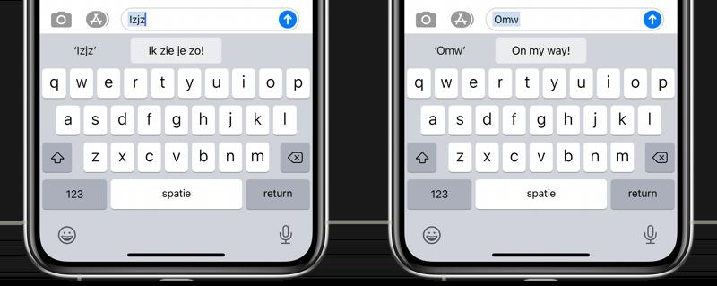 Trefwoorden iOS toetsenbord