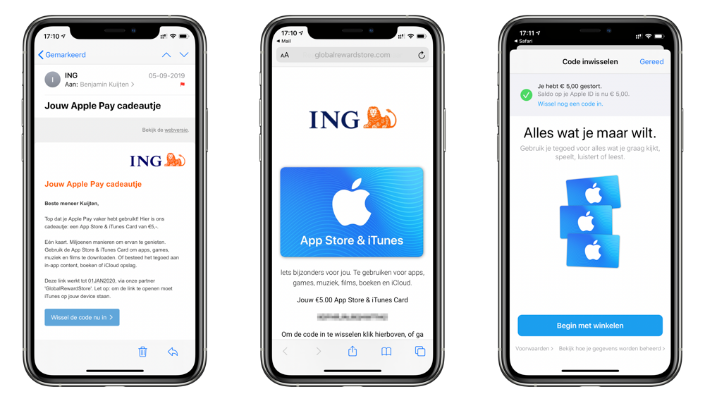 ING Apple Pay cadeautje verzilveren.
