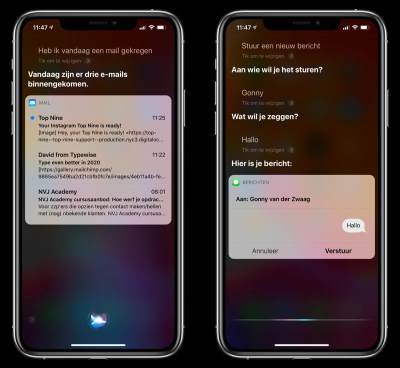 Siri email sms laten voorlezen en versturen