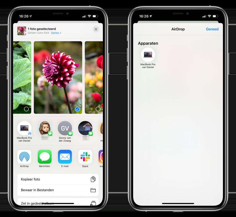 AirDrop gebruiken foto's app iPhone