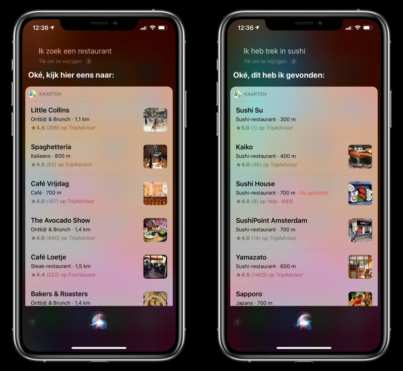 Restaurant zoeken met Siri