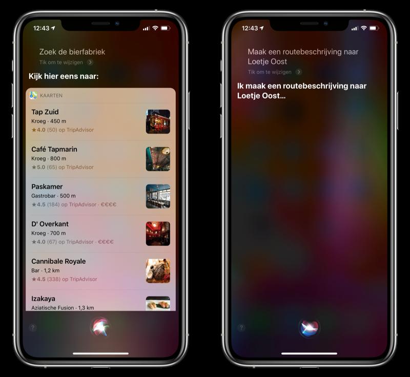 Routebeschrijving restaurants met Siri