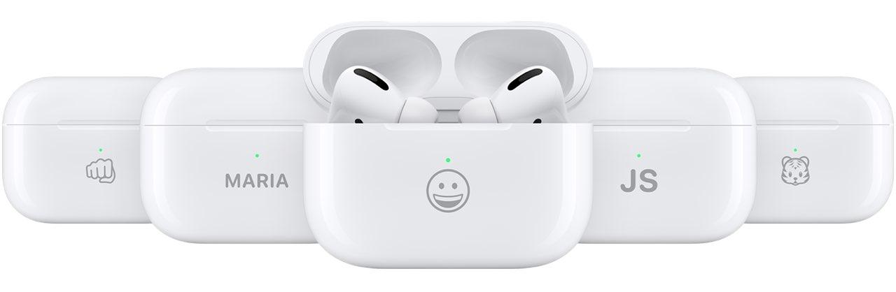 AirPods Pro met emoji inscriptie