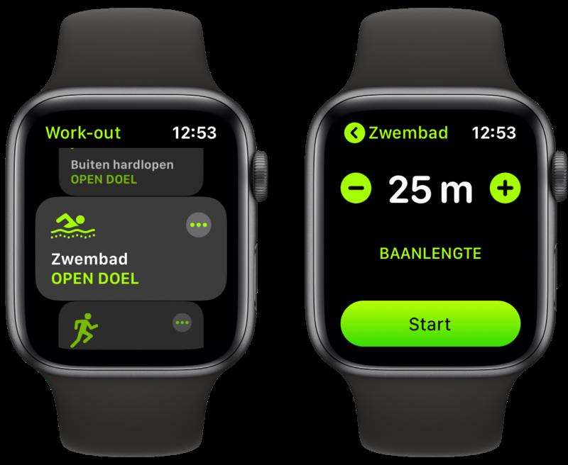 Zwemmen met je Apple Watch starten.