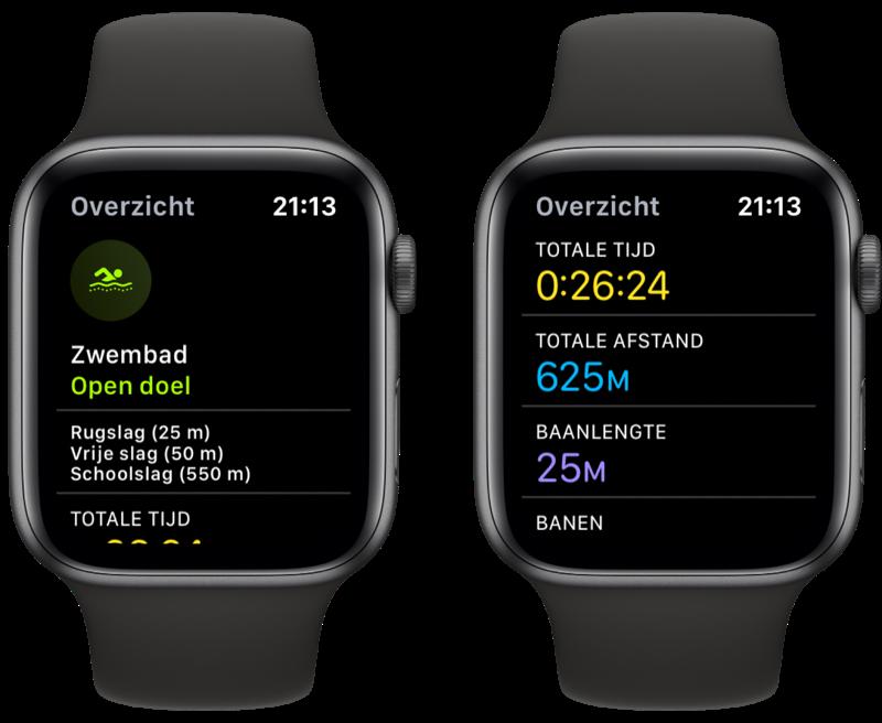 Resultaten van zwemmen met de Apple Watch.