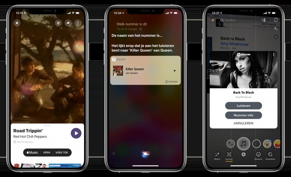 Shazam in Siri en Snapchat