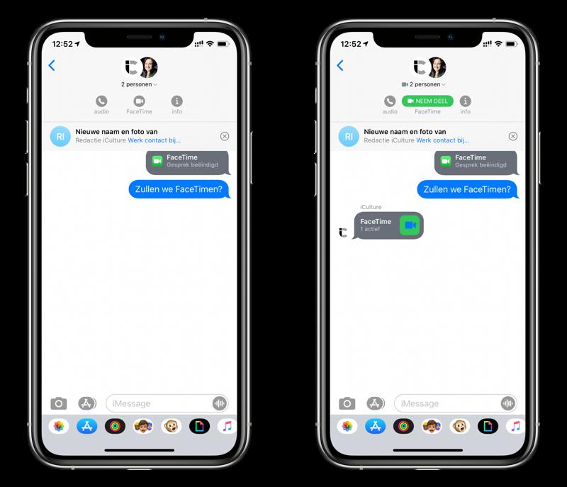 FaceTime videochat met groep starten via iMessage.