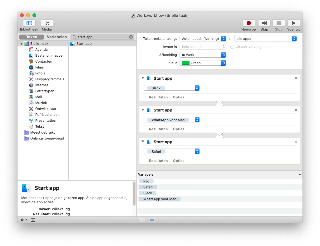 Automator Mac snelle taak voor Touch Bar