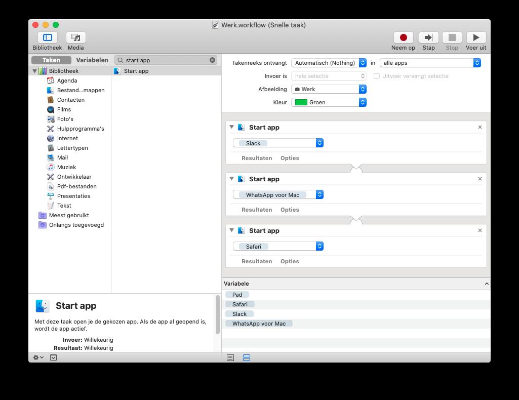 Automator Mac snelle taak voor Touch Bar