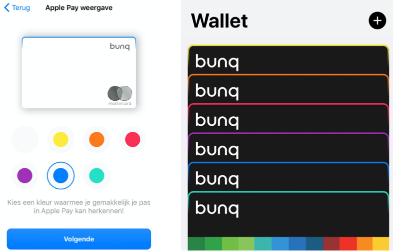 bunq Apple Pay kaart met kleuren.