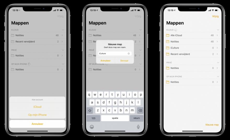 Mappen maken Notities-app