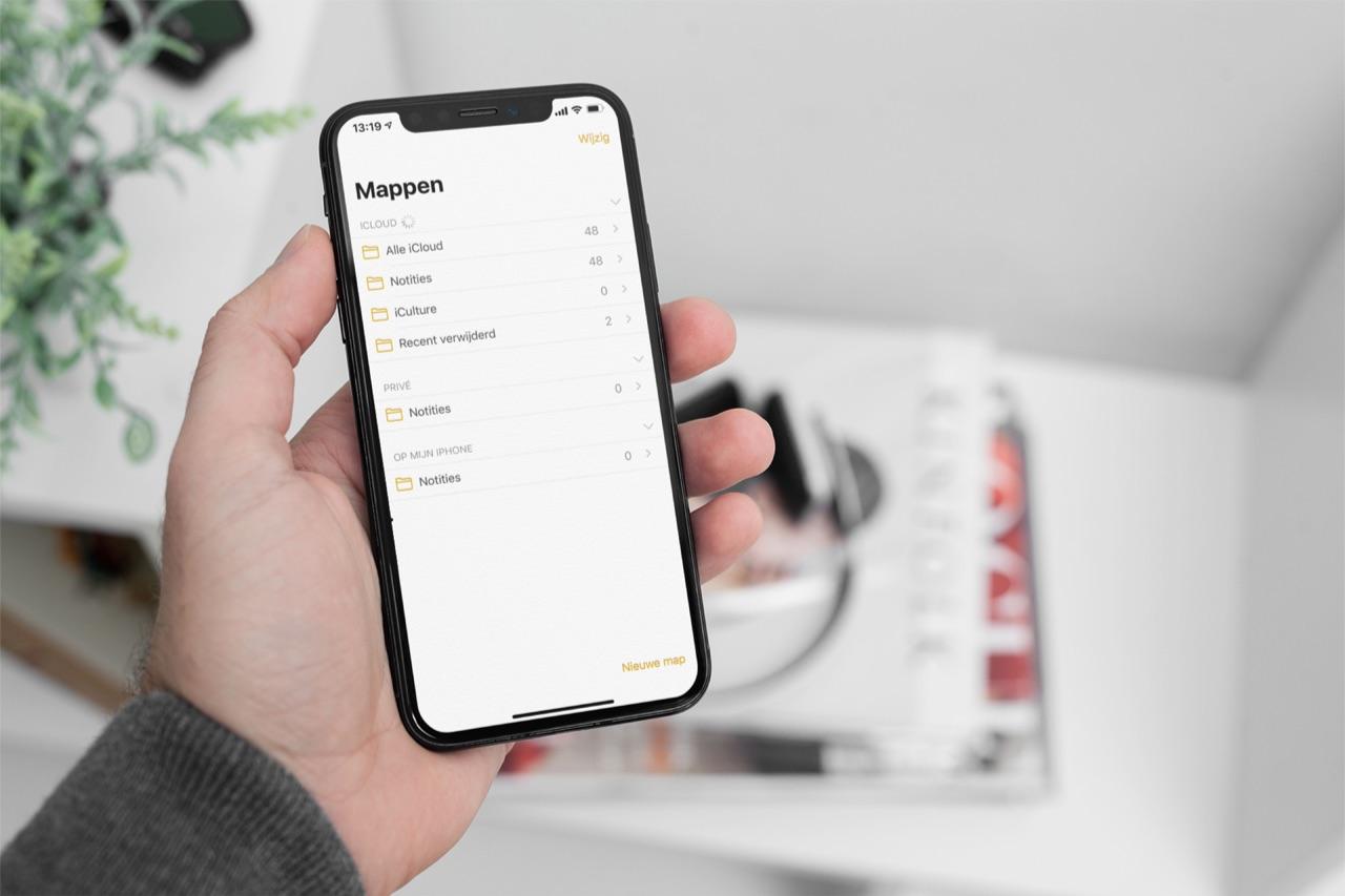 Overzicht van mappen in de Notities-app.