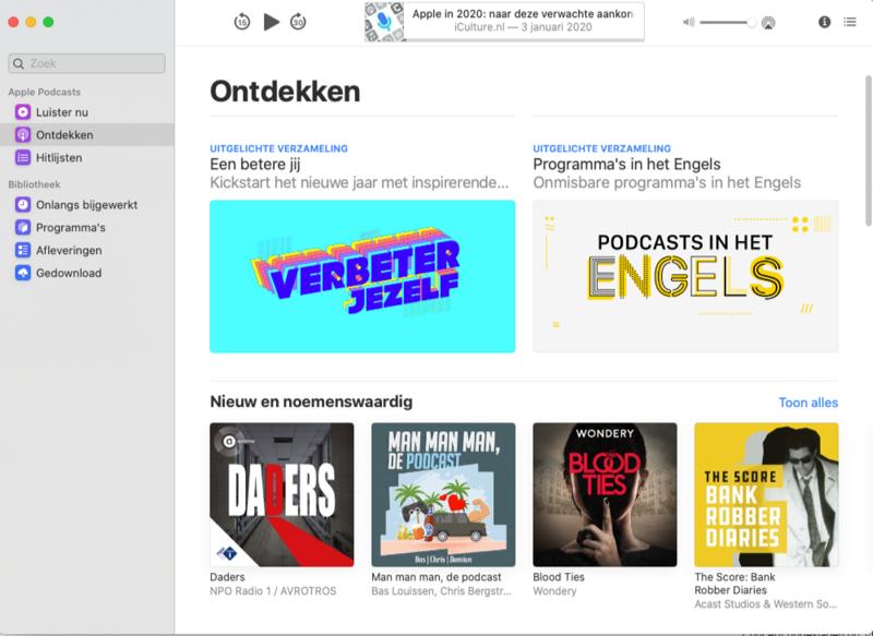 Podcasts Mac ontdekken-tabblad
