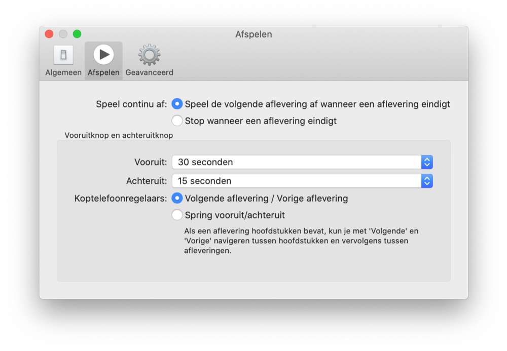 Podcasts Mac instellingen