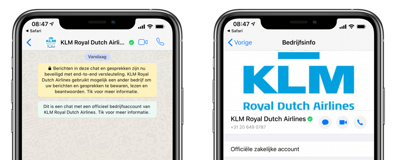WhatsApp business KLM