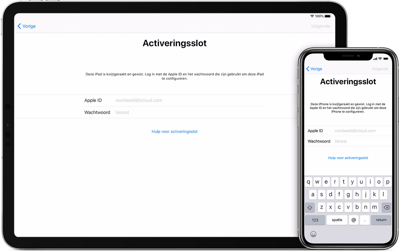 Activeringsslot op iPhone en iPad in iOS 13.