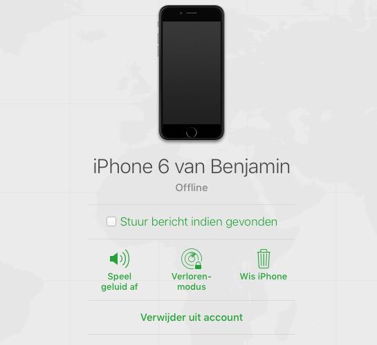 Zoek iPhone verwijderen uit account.