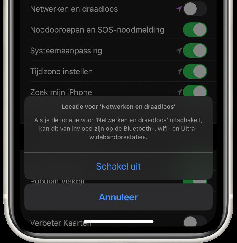 Locatie schakelaar Netwerken en draadloos voor Ultra Wideband in iOS 13.3.1.