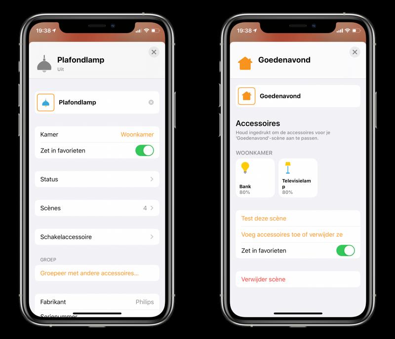 HomeKit: accessoires en scenes als favoriet in de Woning-app.