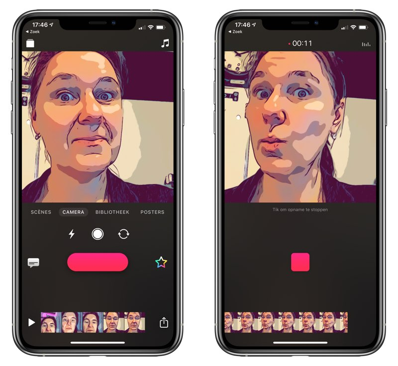 Clips-app handsfree filmen
