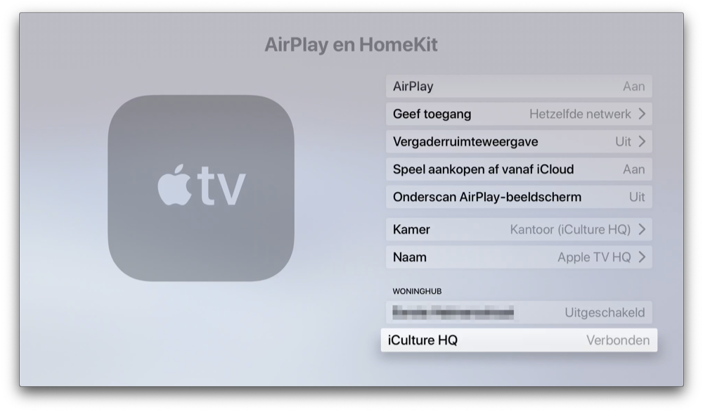 Apple TV woninghub controleren.