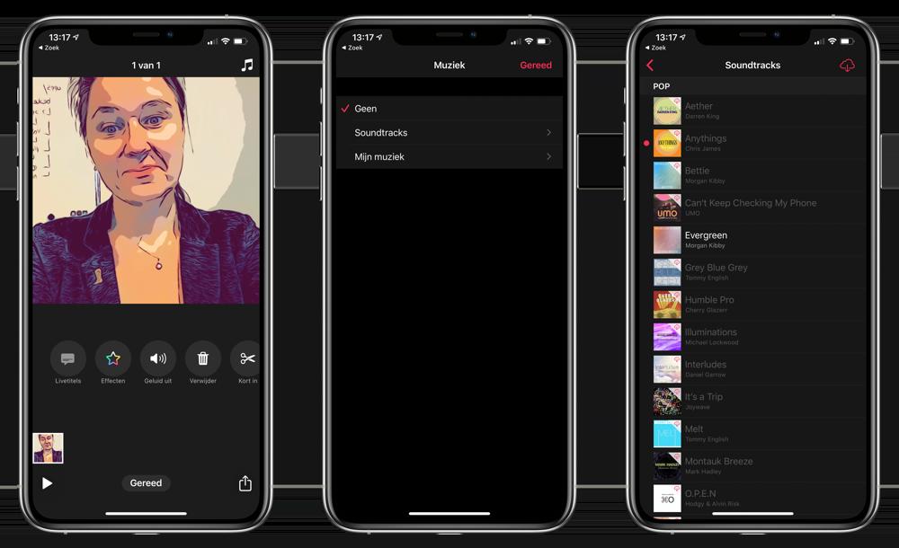 Muziek toevoegen aan Clips-app
