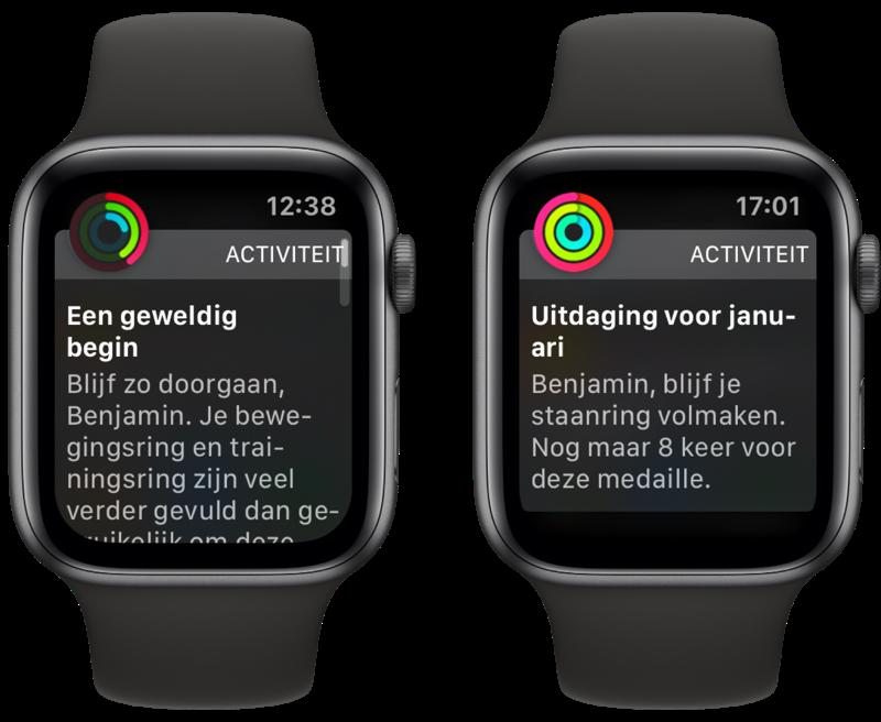 Apple Watch melding van Activiteit met voortgang en aanmoediging.
