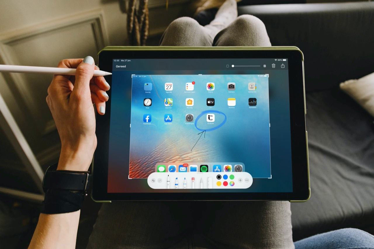 Screenshot op de iPad met Apple Pencil.